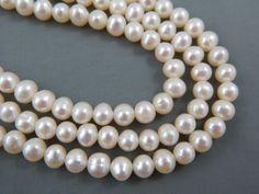 Necklaces & Pendants Engagement & Wedding Vintage Estate 3 Strand 7.5mm 8mm Baroque Cultured Pearl Necklace Sterling Clasp