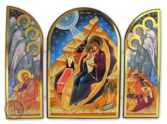 HolyTrinityStore Picture - Nativity of Christ, Orthodox Triptych Icon