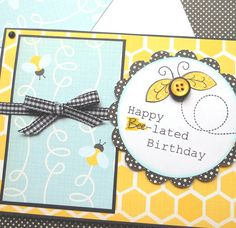 Bumble Bees  Handmade Belated Birthday Card by SewColorfulDesigns