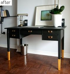 Paint the bottom of furniture legs a bold gold to add some flair.