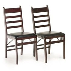 The Cosco Bridgeport Folding Chair with vinyl Seat and X-Back, Espresso - 2 Pack features a stylish wood frame in espresso. Patio Chairs, Outdoor Chairs, Dining Chairs, Space Saving Furniture, Dining Room Furniture, Wooden Folding Chairs, Best Office Chair, Office Chairs, Wood Vinyl