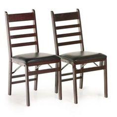 Cosco Woodcrest Folding Chair - Mahogany - 2 Pack