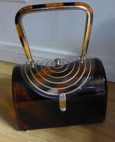 VINTAGE Gold Trim Brown & Clear LUCITE PURSE 1960's RETRO #Box
