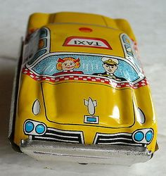 Vtg TN Made in Japan Yellow Taxi Cab Tin Litho Friction Toy Car 1950's 1960'S