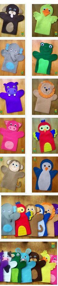 Glove Puppets, Felt Puppets, Puppets For Kids, Felt Finger Puppets, Felt Diy, Felt Crafts, Animal Hand Puppets, Puppet Patterns, Doll Patterns