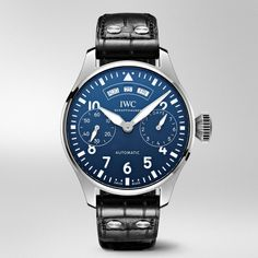 "IWC Big Pilot's Watch Annual Calendar Edition ""150 Years"" with blue laquered dial"
