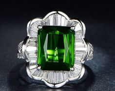 Engagement Ring -  6.8 Carat Green Tourmaline Engagement Ring With Diamonds In 14K White Gold