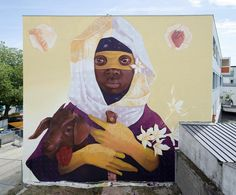 INTI wall mural in Exodus in Rabat, Morocco. Love this street artist! INTI is from Chile. He's become an ambassador of South American street art worldwide. His work can be seen on walls from Belgium to Slovakia, USA to Peru, Puerto Rico and of course, Chile.
