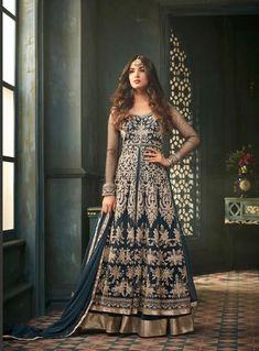 43274c023a Buy Snazzy Teal Blue Designer Heavy Embroidered Work Wedding Wear Net  Lehenga Kameez at Rs. Get latest Lehenga kameez at Peachmode.