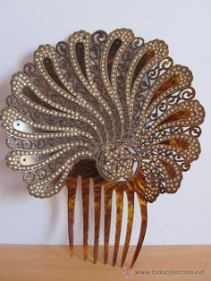Hair comb in faux tortoiseshell effect with rhinestones