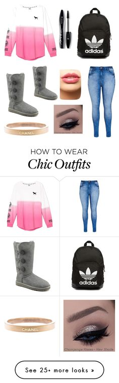 """College girl❤️"" by miamullanix on Polyvore featuring Victoria's Secret, City Chic, UGG Australia, adidas Originals, LASplash, Lancôme, Chanel, women's clothing, women and female"