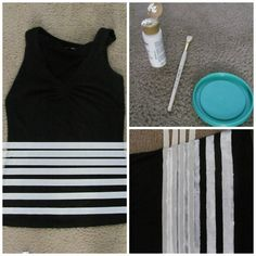 Painting stripes onto a solid shirt. DIY