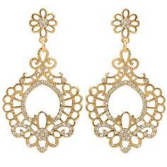 $5.98 Pair of Noble Rhinestone Embellished Special Shape Openwork Women's Earrings