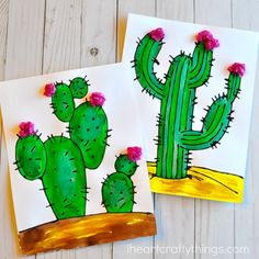 Beautiful Black Glue Cactus Craft | I Heart Crafty Things