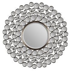 This contemporary mirror from Ren-Wil features dozens of small mirrors and a large beveled round mirror in a satin-nickel plated metal frame. This mirror offers a sophisticated, clean look that makes this it a natural fit in many decors. Silver Wall Mirror, Wall Mirrors Set, Rustic Wall Mirrors, Unique Mirrors, Living Room Mirrors, Small Mirrors, Round Wall Mirror, Wall Mounted Mirror, Mirror Set
