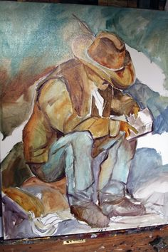 The Cowboy, Cowboy Painting by Texas Artist Laurie Pace, painting by artist Laurie Justus Pace