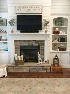 Shiplap and brick fireplace … | Pinteres…