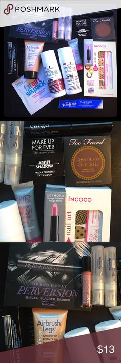 Sephora box and other samples! Samples from the sephora box, walmart box, and other random subscriptions. Includes products from Too Faced, Make Up Forever, Estée Lauder, Urban Decay, Bliss, and Sephora. Great if you wanna discover new products! Nothing was used. :) Sephora Makeup