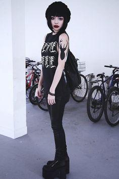 Goth girl. I love her look! She's so cute!