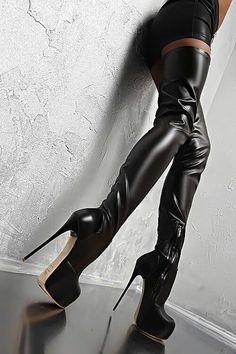 Made in Italy Damen Sexy High Heels Stretch Luxus Boots Stiefel Leder Braun… Platform High Heels, Black High Heels, High Heel Boots, Thigh High Boots, Heeled Boots, Platform Boots, Brown Heels, How To Stretch Shoes, Heel Stretch