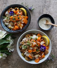 Quick Harissa Lentils with Roast Squash and Tahini Dressing