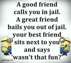 Because you and your BFF are true friendship goals. 30 Best Friend Memes To Share With Your BFF On National Best Friend Day Minion Humour, Funny Minion Memes, Minions Quotes, Funny Texts, Funny Humor, Minions Images, Funny Friend Memes, Best Friends Funny, Really Funny Memes