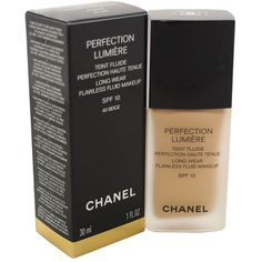 Chanel #40 Beige Perfection Lumiere Long-Wear Flawless Fluid Makeup... (420 NOK) ❤ liked on Polyvore featuring beauty products, makeup, face makeup, foundation, hydrating foundation, spf foundation, long wearing foundation, chanel and oil free foundation