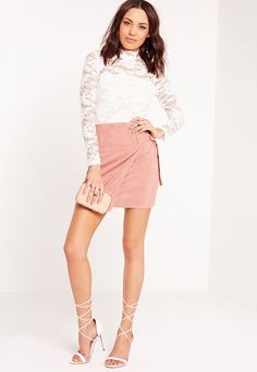 Missguided - High Neck Lace Long Sleeve Bodysuit White