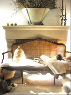 French Cane Settee-  In front of the Fireplace- Lovely