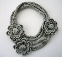 Versatile crochet knitted necklace scarf lariat