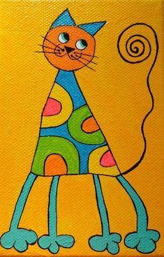 kitties Art Drawings For Kids, Easy Drawings, Art For Kids, Silhouette Chat, Whimsical Art, Elementary Art, Rock Art, Doodle Art, Cat Art