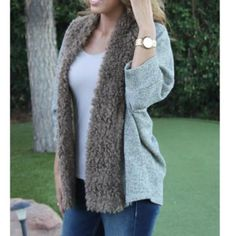 Fur Trim Cardigan Found the look: This cozy sweater cardigan has a soft fur inspired trim. Layer it over your day time or evening look for an easy boho vibe. karlie Sweaters Cardigans
