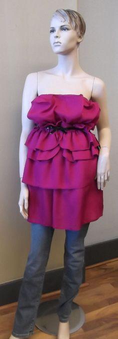Giambattista Valli Impulse Fuchsia Ruffled DressTop New Belted Strapless #GiambattistaValli #amalclooney