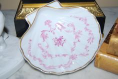 Beautiful French Limoges Saks Fifth Ave H P Pink Rococo Work Scallop Shell Dish | eBay