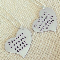 A personal favorite from my Etsy shop https://www.etsy.com/listing/477524595/sister-jewelry-sister-necklace-set-hand