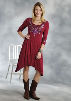 Roper® Women's Wine Red Floral Embroidered Scoop Neck Jersey Dress