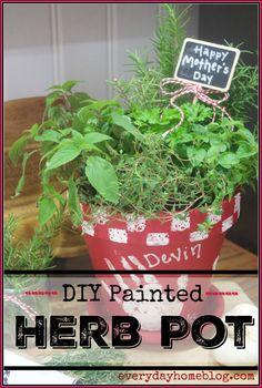 DIY Painted Herb Pot | The Everyday Home | www.everydayhomeblog.com