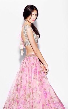 Anushree Reddy Pastel Embroidered Blouse Love the top. Indian Bridal Fashion, Indian Bridal Wear, Indian Wear, Saris, Indian Dresses, Indian Outfits, Floral Lehenga, Indian Couture, Indian Attire