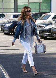 Kim-Kardashian-Denim-Jacket-Striped-Top- White-Jeans -Heels-Birkin-Bag