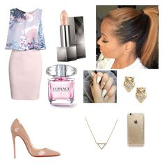 """""""out"""" by zendaya090 ❤ liked on Polyvore featuring mode, Boohoo, Christian Louboutin, Burberry, Kate Spade, Banana Republic et Rifle Paper Co"""