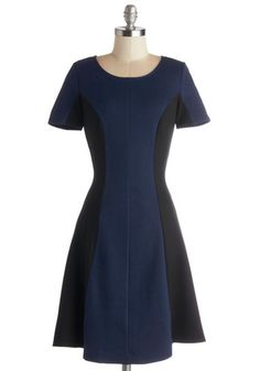 Dash of Contrast Dress - Mid-length, Blue, Black, Casual, A-line, Short Sleeves, Good, Scoop, Colorblocking