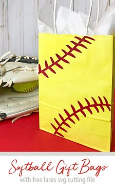 These will be perfect for our end of season party! Make softball gift bags using these softball laces svg file and an inexpensive plain gift bag. Cut file from Carla Schauer Studio Softball Goodie Bags, Softball Coach Gifts, Softball Party, Softball Crafts, Softball Shirts, Softball Cheers, Softball Mom, Baseball Mom, Small Gift Bags
