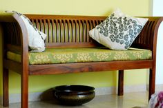 Bench from fabindia - aparna p - Living Room Living Furniture, Home Decor Furniture, Home Decor Bedroom, Furniture Design, Furniture Ideas, Ethnic Home Decor, Indian Home Decor, Fabindia Furniture, Wooden Sofa Set Designs