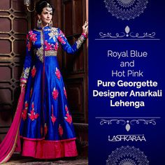 Royal Blue and Hot Pink Pure Georgette Designer Anarkali Lehenga Features a pure georgette fabric anarkali with heavy zari, thread, embroidered and sequins work.  This suit completes with pure santoon dyed inner and bottom alongside with pure bemberg visc