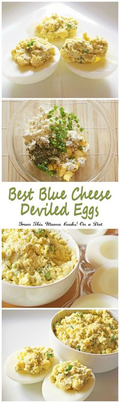Got hard boiled eggs? Make this gluten free and easy to make Best Blue Cheese Deviled Eggs appetizer recipe from This Mama Cooks! On a Diet. If you love deviled eggs and blue cheese, this is THE recipe you have to serve at your Big Game party!