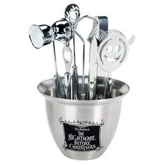 nightmare before christmas accessory set including strainer, ice tongs, bottle opener, spider swizzle spoon, double jigger, and garnish knife