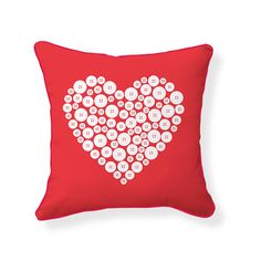 Naked Decor Love Button Cotton Throw Pillow