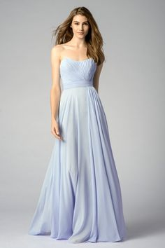 Strapless, crinkle chiffon dress with modified sweetheart neckline, shirred bodice and waistband, and a-line skirt all colors available