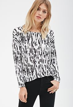 Abstract Brushstroke Pocket Top | FOREVER21 - 2000118579 I like this top except for the pocket.