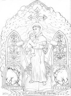 Saint Anthony of Padua Catholic Crafts, Catholic Kids, Catholic Prayers, Catholic Saints, Adult Coloring Pages, Coloring Books, Saints For Kids, Saint Anthony Of Padua, Religious Art